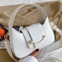 Cor sólida ombro crossbody sacos para as mulheres 2021 de couro do plutônio designer pérola smiley bolsa feminina saco do mensageiro viagem