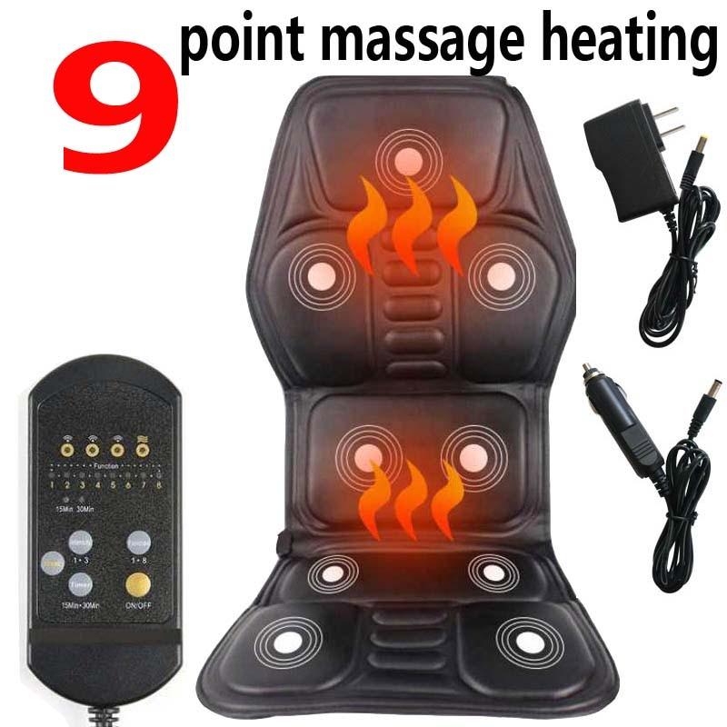Electric Neck Massager Back Massage Chair Cushion 9 Motor Vibrator Home Car Office Lumbar Waist Pain Relief Seat Pad Relax Mat