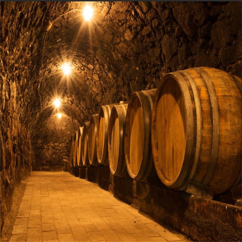 Custom 3D Photo Wallpaper Oak Barrels In The Tunnel of Old Winery Cellar Mural Beer Wine Bar KTV Industrial Decor Wall Paper 3D