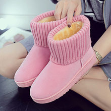Quality Woman Boots Round Toe Yarn Elastic Ankle Boots Thick Heel Flat Heels Shoes Woman Female Socks Boots 2019 Winter(China)