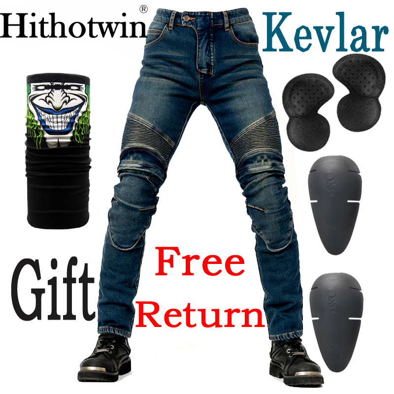 Kevlar Windproof Winter Warmer Motorcycle Trousers Casual Men's Motorbike Motocross Road Knee Protective Waterproof Moto Jeans