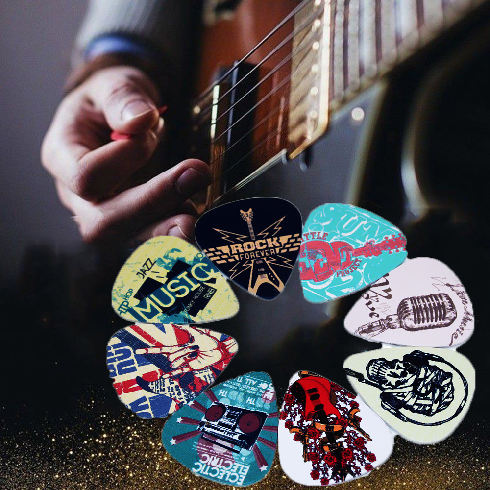 10pcs Mixed Pattern Mediator Rock Gestures 0.46mm/0.71mm Acoustic Guitar Picks Plectrums Celluloid Shrapnel