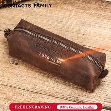 Estojo de couro retrô de alta capacidade, material de papelaria para crianças, escola, escritório, bolsa com zíper