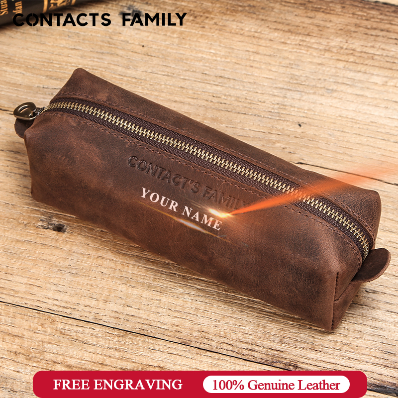Retro Leather Pencil Case High Capacity Business Pencil Case For Kids School Office Pen Bag Pouch For Stationery Supplies Zipper
