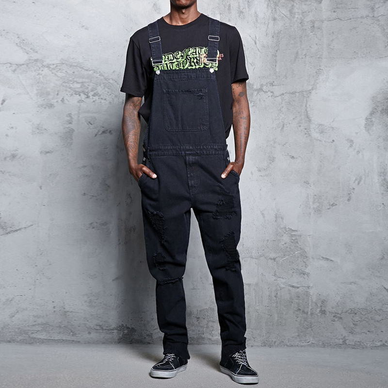 Pocket Jeans <font><b>Jumpsuit</b></font> Men Straight Slim Vaqueros <font><b>Hombre</b></font> Fashion Hip Hop Ripped Denim Overalls Casual Strap Jeans Pants One Piece image
