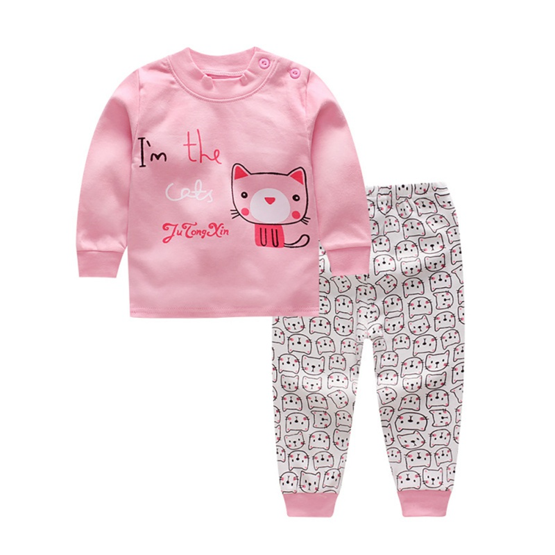 Autumn Baby Kids Girls Boys Cartoon Print Outfits Set Long Sleeve Blouse Tops+Pants Sleepwear Pajamas