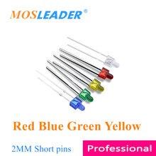 Mosleader 1000 adet DIP LED 2MM kırmızı mavi yeşil sarı kısa pimler F2 küçük meme led ışık yayan diyotlar şeffaf renk dönüş