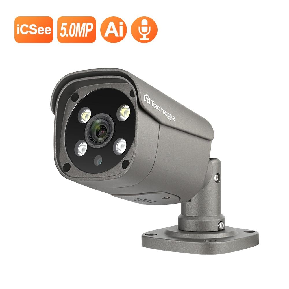 Techage H.265 5MP IP Camera POE Two Way Audio Onvif Ai Human Detection Video Camera Outdoor Waterproof 48V POE 12V For Option