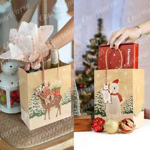 Image 5 - OurWarm クラフト紙袋キャンディボックスクリスマスグッディバッグ紙ギフトバッグ紙クリスマス包装お菓子ポップコーンボックス 23x9 × 18 センチメートル