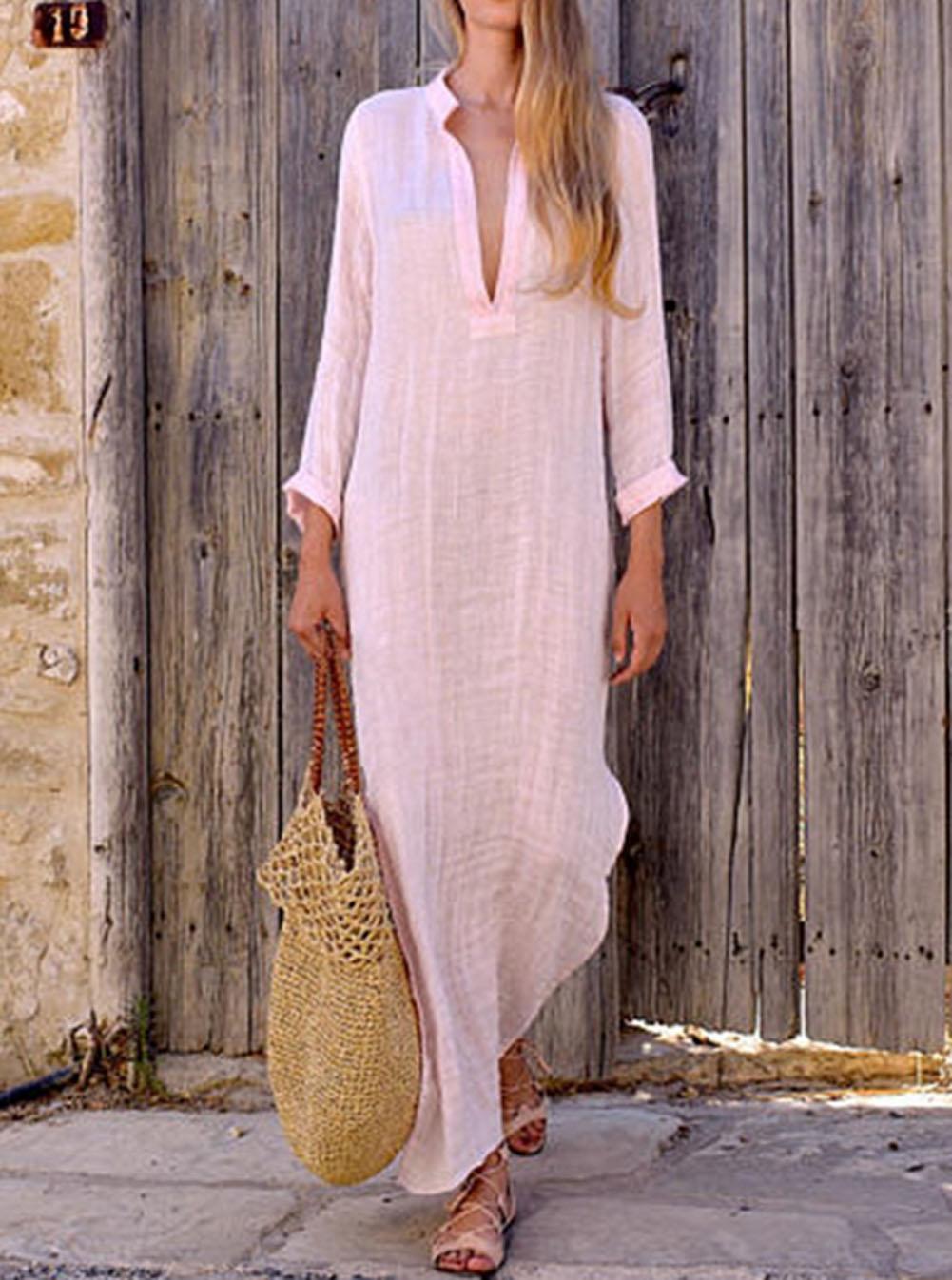 Women Gypsy Dresses Robe Long Sleeve V-neck Ethnic Boho Cotton Linen Summer Beach Maxi Dress 5