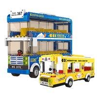 Stadt stadt Klassische Bus Baustein sets double decker bus Sightseeing vehice für Steine Pädagogisches Spielzeug für Kinder Geschenk