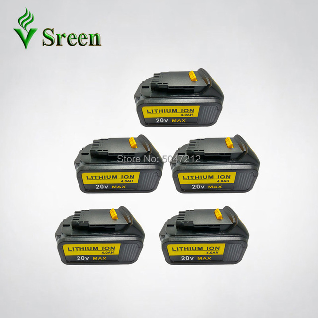5PCS 18V 4000mAh Li Ion Replacement for DEWALT Power Tool Rechargeable Battery DCB180 DCB181 DCB182 DCB200 DCB201 DCB203 DCB204