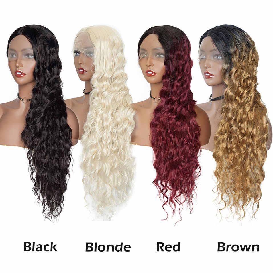 "S-noilite peluca frontal de encaje sintético ondulado en agua negra 4 ""* 0,6"" profundo encaje parte Ombre pelucas para Mujeres afro Peluca de pelo largo"