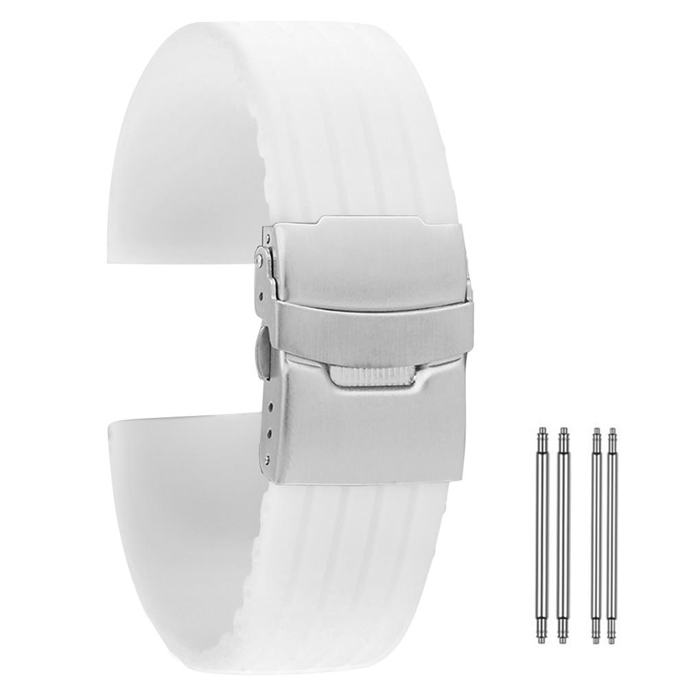 Pulseira de relógio de silicone branco 18mm 20mm 22mm 24mm pasek do zegarka durável pulseira de relógio à prova dband água cinturino orologio