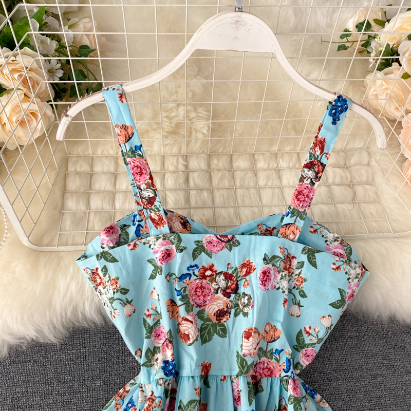 Floral Print Vintage Spaghetti Strap Retro Beach Boho Mini Dress