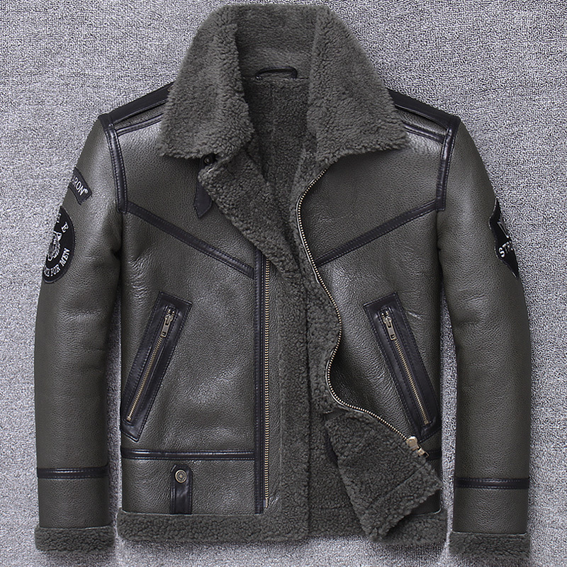 Winter Clothing Male One Lamb Wool Coat Sheep Skin Locomotive Leather Jacket Thickening Keep Warm Real
