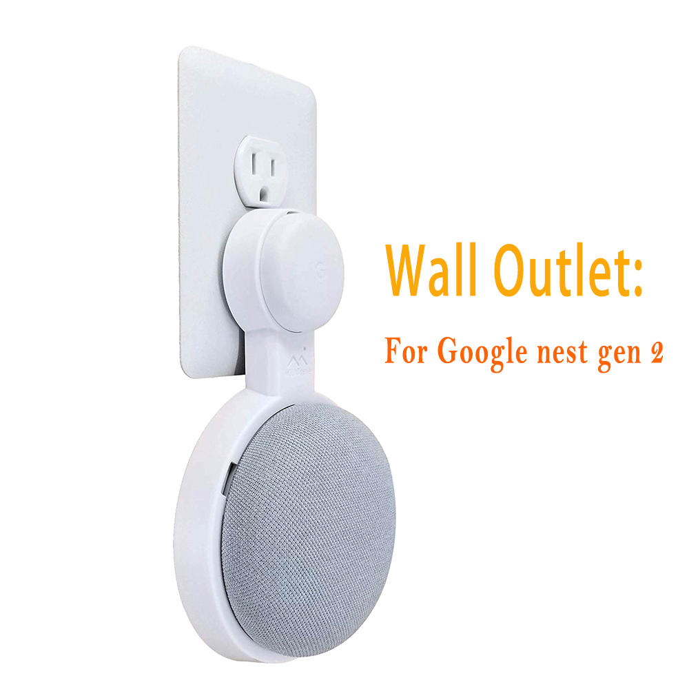 Outlet Wall Mount Holder For Google Nest Mini (2nd Gen) And Google Home Mini Space-Saving Accessories Compact Case Plug