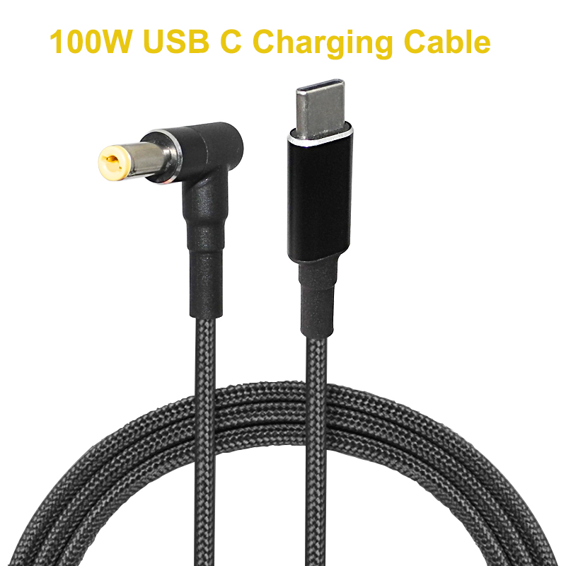 1.8m 100W USB Type C To 5.5x2.5mm Male Plug Converter USB C PD Charger DC Charging Cable Cord For Asus Lenovo Toshiba Laptop