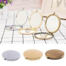 Draagbare Vouwen Spiegel Mini Compact Rvs Metalen Make-Up Cosmetische Pocket Spiegel Voor Make Spiegels Beauty Accessoires