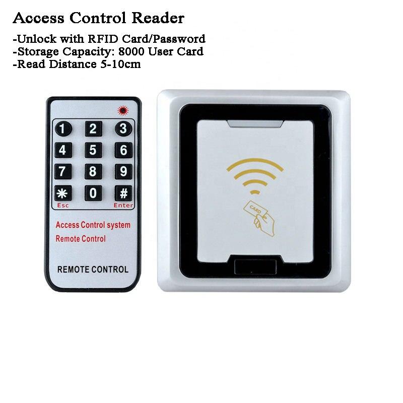 12V Metal RFID LOCK /Remote Controler ID/IC Card Reader/Password/Code Data Copy Office/Factory/laboratory 8000users  Door Lock