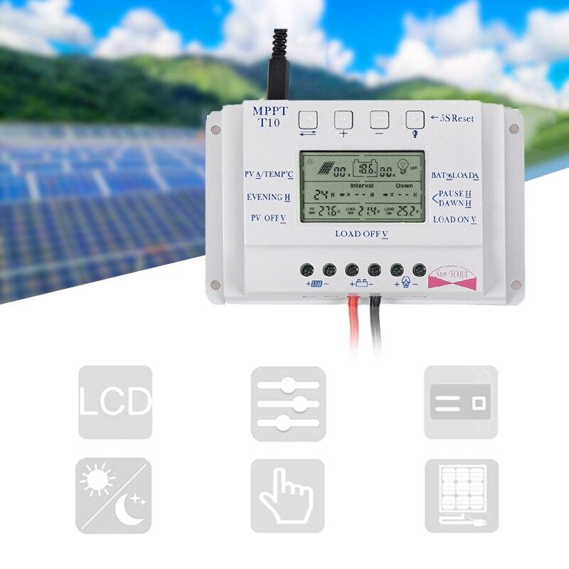 12 V/24V10/20/30/40A MPPT samochodowy wyświetlacz lcd wyświetlacz słonecznego kontroler ładowania kontroler z obciążenia podwójny regulator czasowy dla światła uliczne