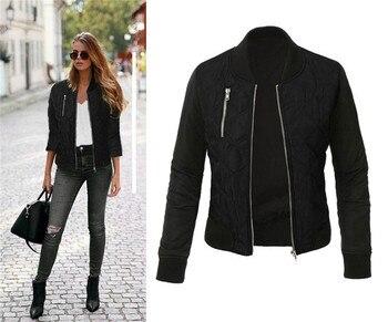 hirigin Women Bomber Jackets Ladies 100% Cotton Zip Up fashion casual Biker Quilted Coat Tops female zipper ladies new Plus Size