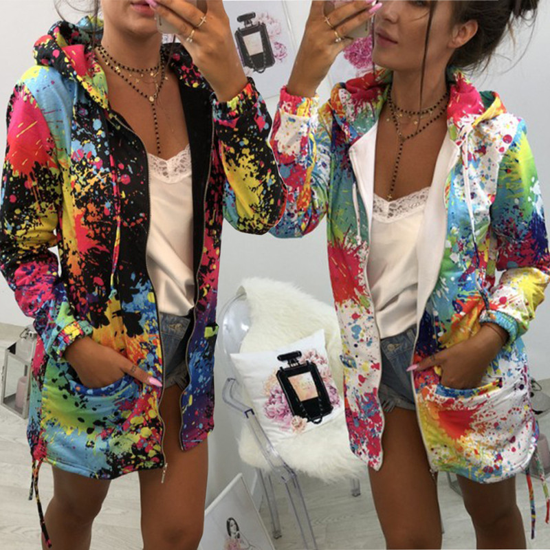 Oufisun Women's Jacket Coat Hooded Spring Zipper Female Thin Autumn Multicolor Casual title=