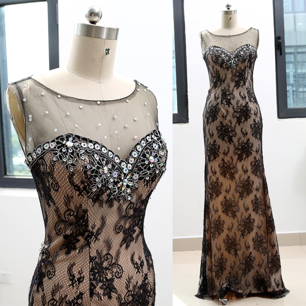 MACloth Black Sheath O Neck Floor-Length Long Crystal Lace   Prom     Dresses     Dress   M 263765 Clearance