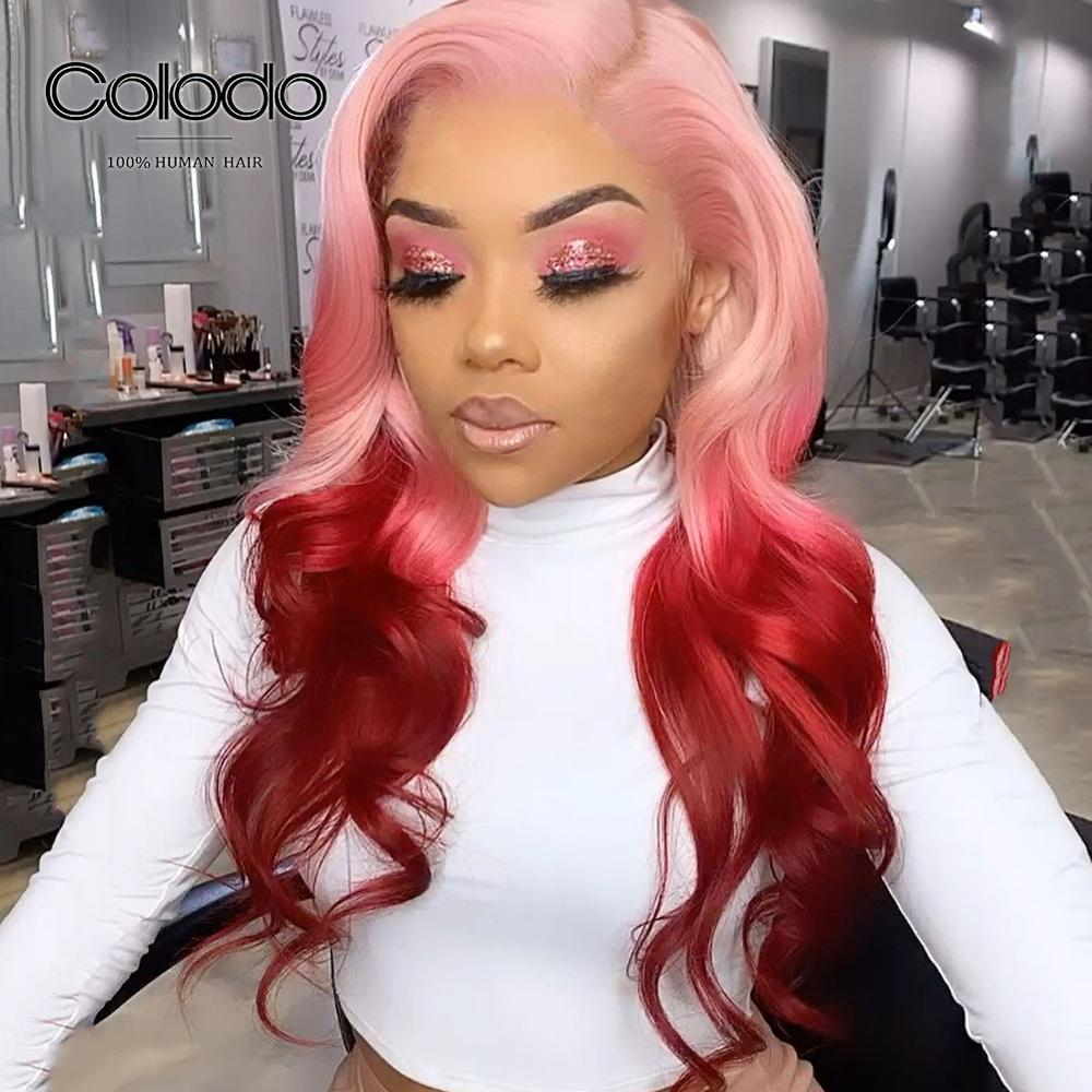 COLODO Preplucked Transparent Lace Wigs Pink Ombre Human Hair Wig Remy Brazilian Purple Blue Lace Front Human Hair Wigs ForWomen