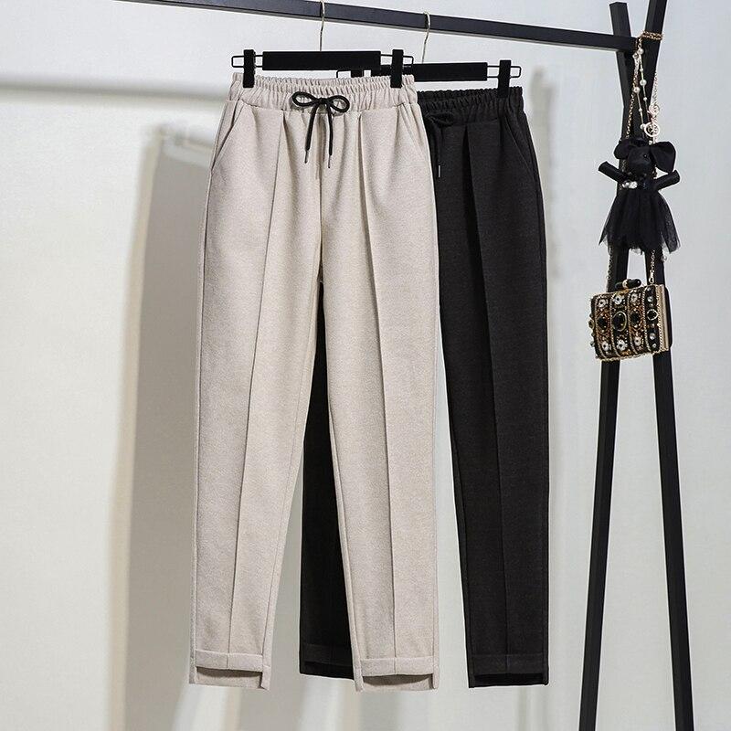 2019 Autumn Women Winter Wool&Blends Trousers Casual Harem   Pants   Plus Size 5XL Loose Anklet Length   Pants   Drawstring Brand   Capris