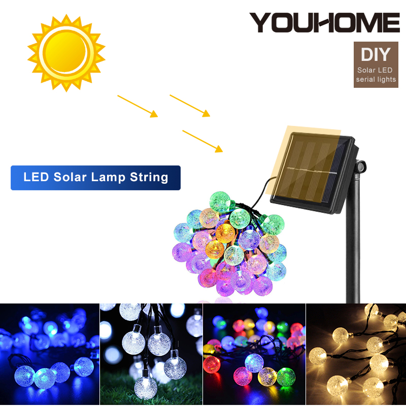 LED Outdoor Solar Lamp Solar Crystal Ball Light Fairy Holiday Christmas Party Garland Solar For Garden Decor  Waterproof Lights