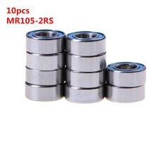Hoge Kwaliteit 10PCS 5x10x4mm metel MR105-2RS Miniatuur Kogellagers Rubber Afgedichte Kogellagers