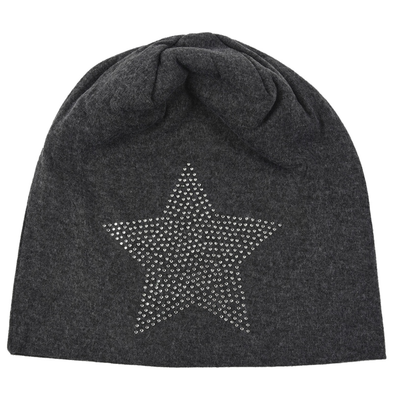 Unisex Men Women Classic Star Rhinestone Slouch Beanie Cap Cotton Hat Dark Grey
