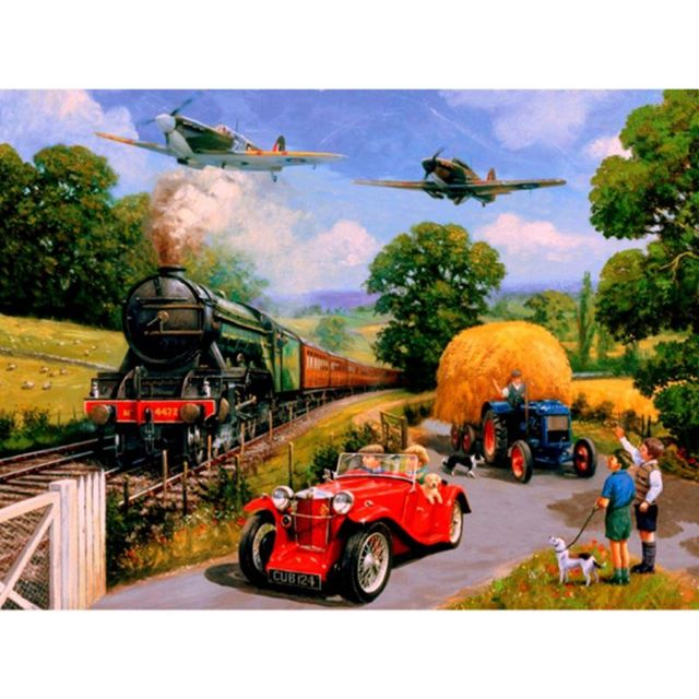 Spitfire Fly Past WW2 Paint By Numbers Military Steam Train
