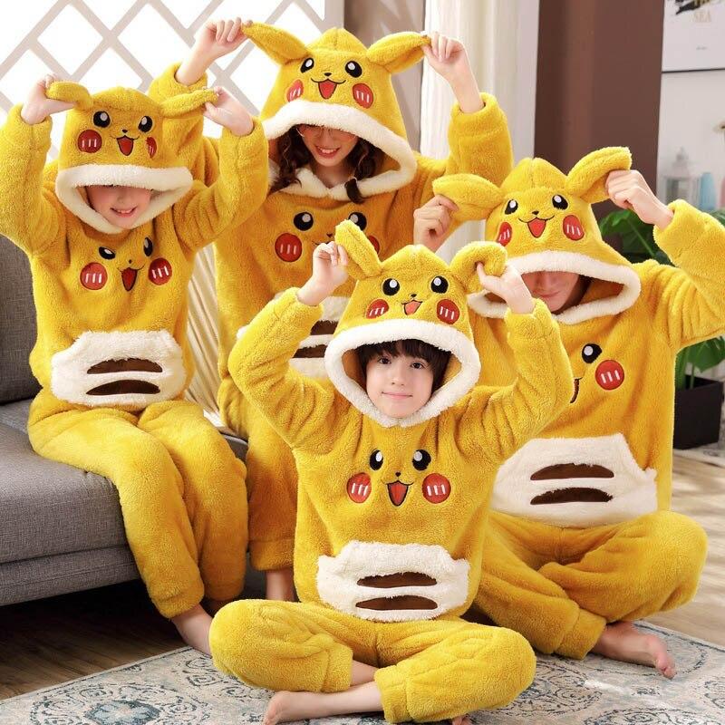 Parent-child Pajamas New Unisex Adult Cute Cartoon Male Pajamas Set Thicken Hooded Animal Sleepwear Winter Warm Home Service