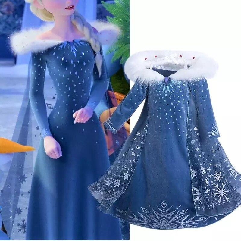 2020 Winter Elsa Dress For Girls Halloween Girl Cosplay Party Dress Christmas Costume For Girls Princess Dress Kids Anna Clothes