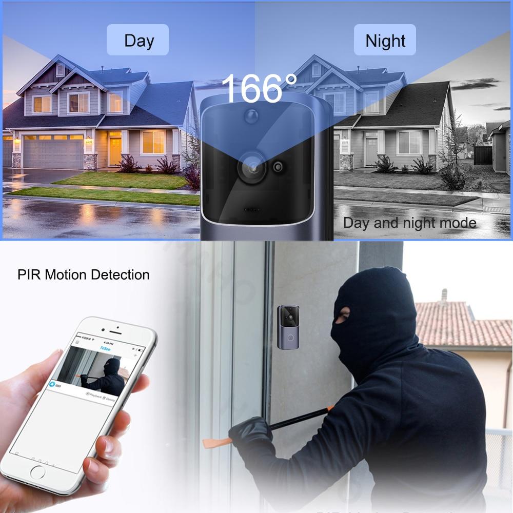 HISMAHO WIFI Doorbell Video Door Intercom 720P HD Wireless Smart Home IP Door Bell Camera Security Alarm IR Night Vision 3