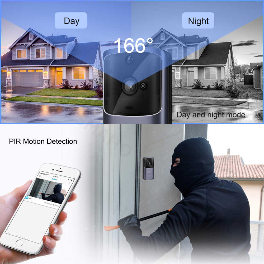 "Image result for SMART HOME IP DOOR BELL CAMERA SECURITY ALARM"""