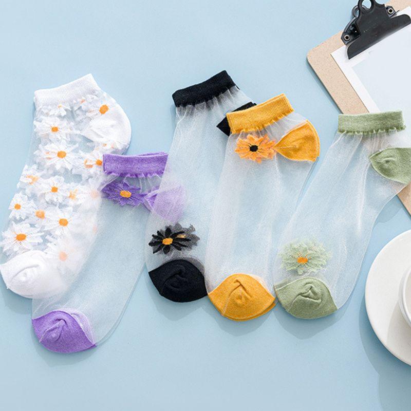 Korean Women Summer Glass Fiber Short Boat Socks Transparent Hollow Out Sweet Daisy Sunflower Candy Color Thin Hosiery