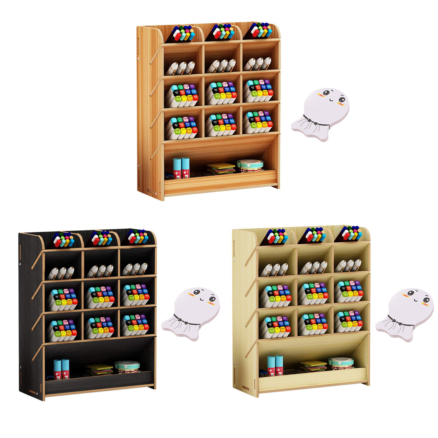 Wooden Desk Organizer Multi-Functional Pen Pencil Holder Storage Rack with Post-it Sticker for Office School Stationery Supplies