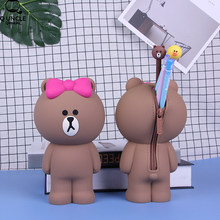 Kawaii Choco Bear Cartoon Silicone Pouch Super Big PencilCase Silica Gel School Supplies Stationery Gift Cute Pencil Box Pen Bag(China)