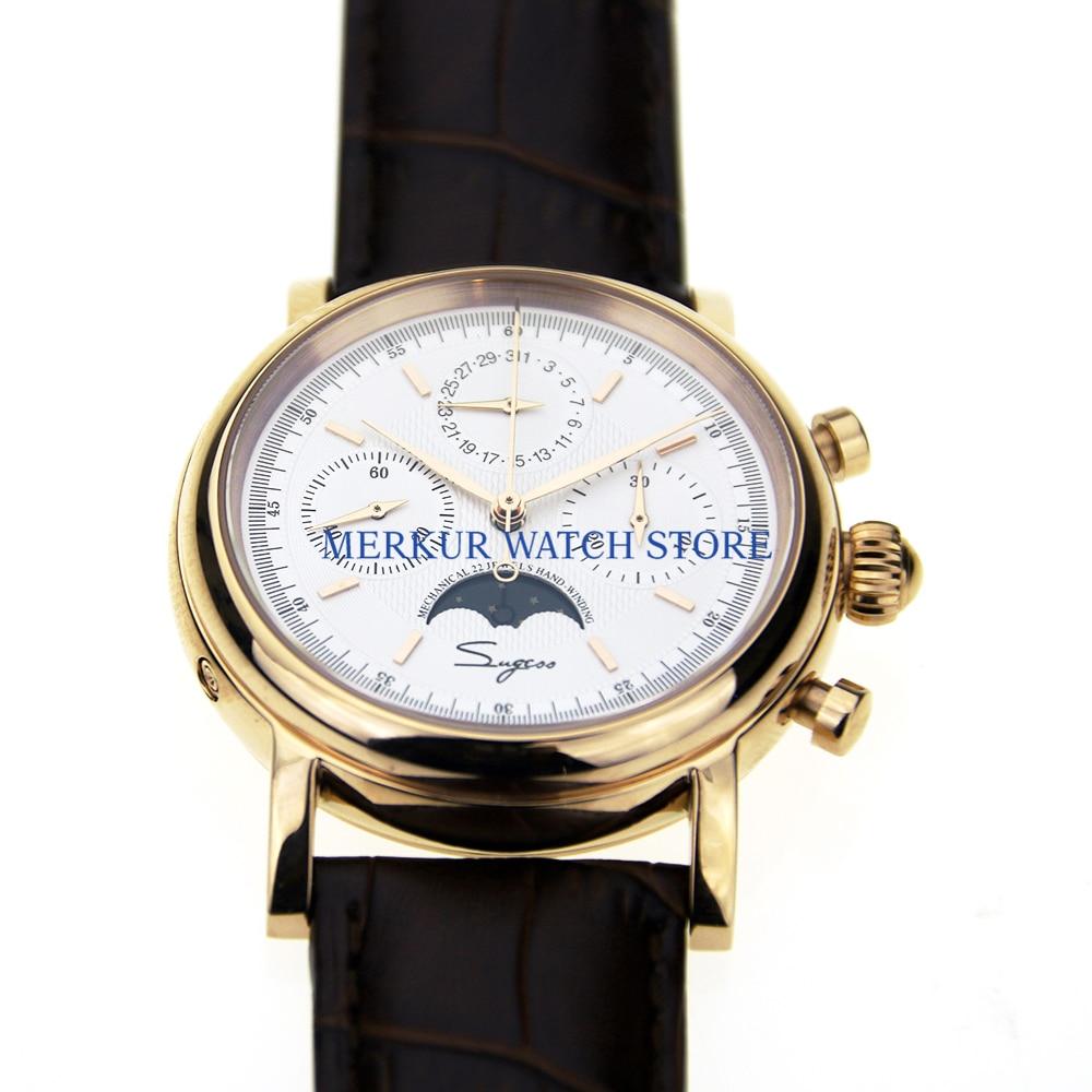 Sugess Mens Watch Mechanical Chronograph Pilot 1963 Dress Watch Dress Seagull Movement St1908 Gold Plated White DIal Luxury