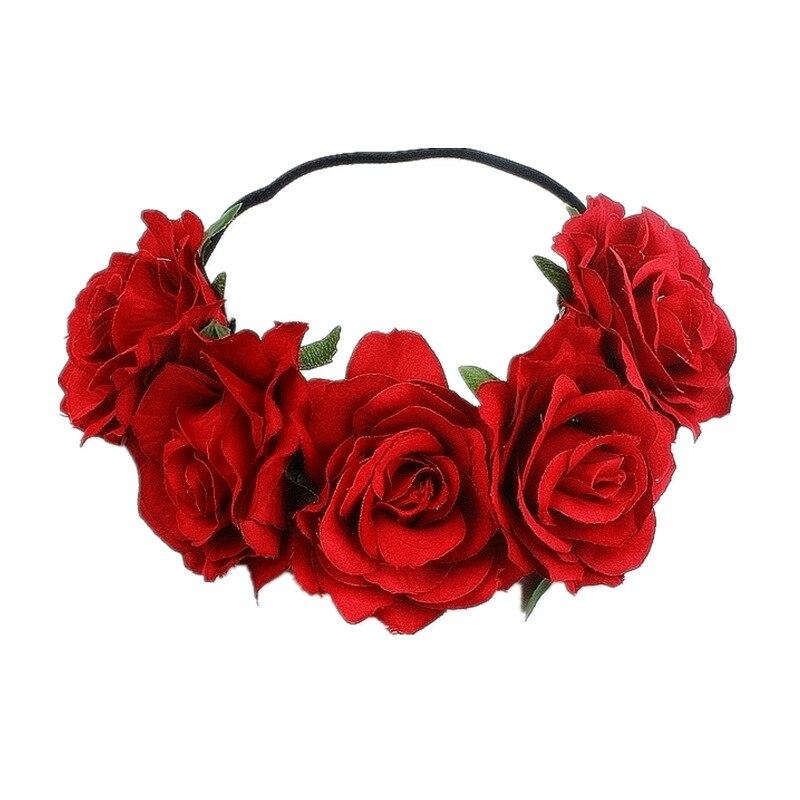 Beautiful Bride Headband Beach Holiday Hair Accessories Garland Red Rose Flower Hairband Christmas Carnival Ball Party Tiara