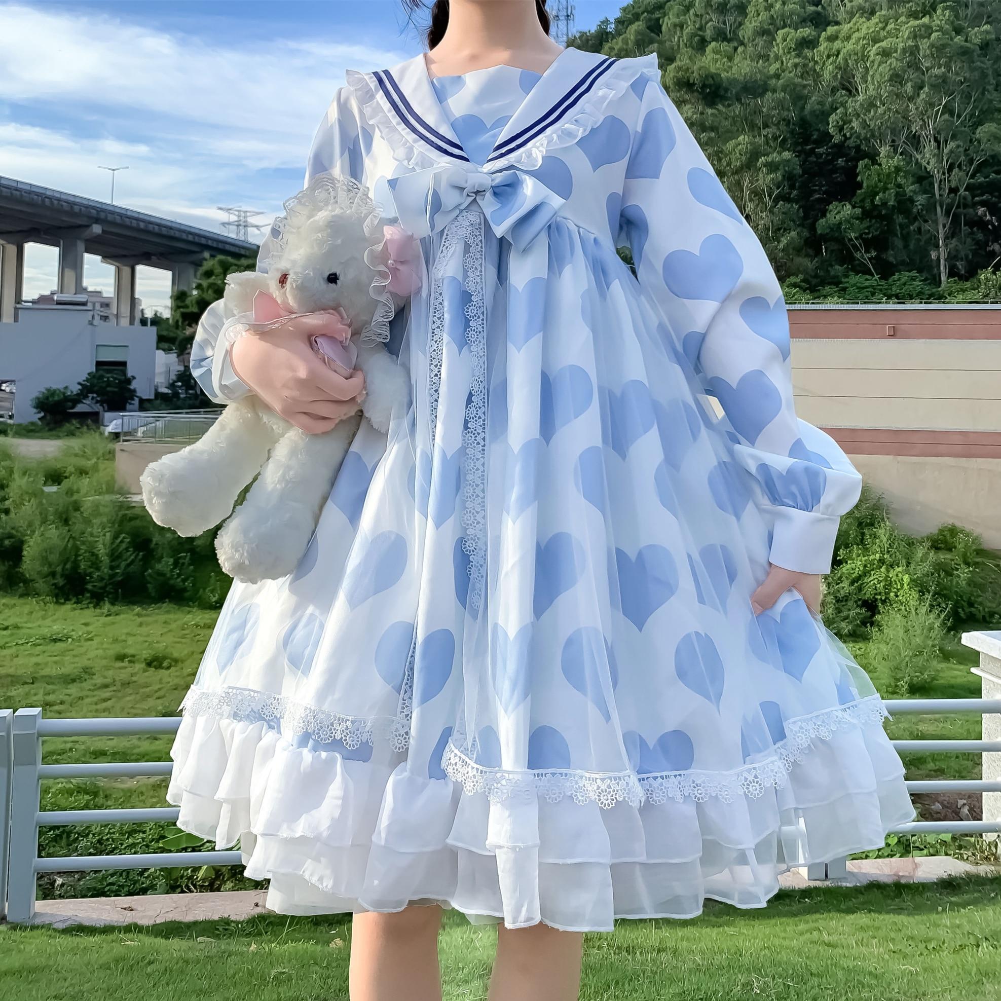 Japanese-Style Navy Op Long-Sleeved Mesh Soft Sister Ruffles Dress Women Spring and Autumn kawaii clothing sweet lolita dress