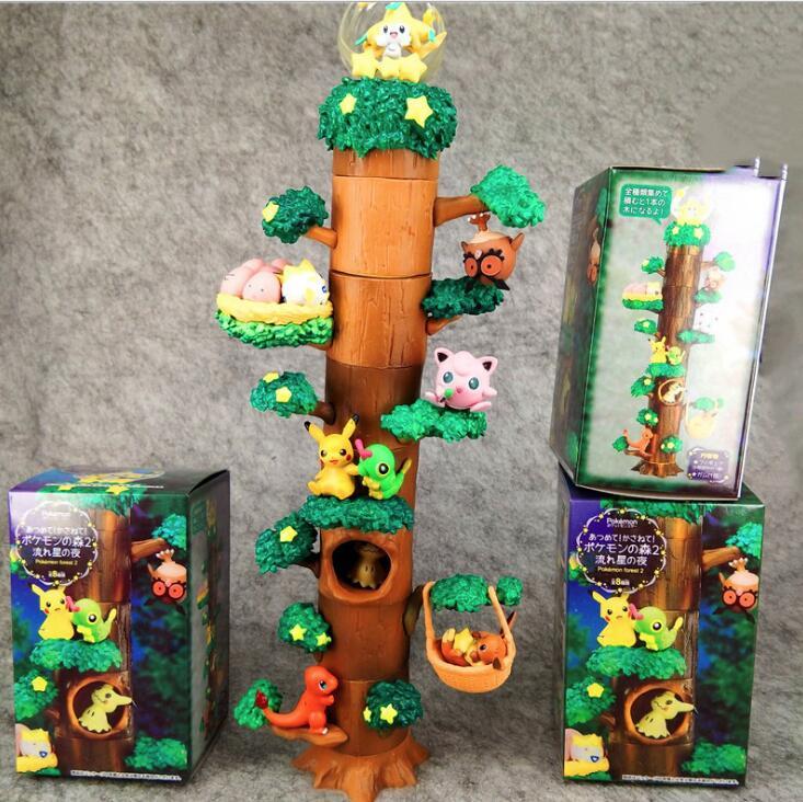 Anime Pocket Pikachu Mokurah Celebi Bulbasaur 8pcs Figure In Forest Tree House Ver. PVC Action Figure Collection Model Toys