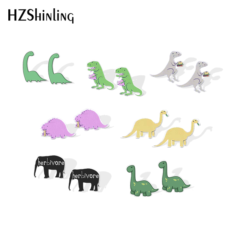 2019 New Herbivore Dinosaur Resin Earrings Berbivore Animal Shrinky Dinks Earrings Silver Color Epoxy Stud Earring