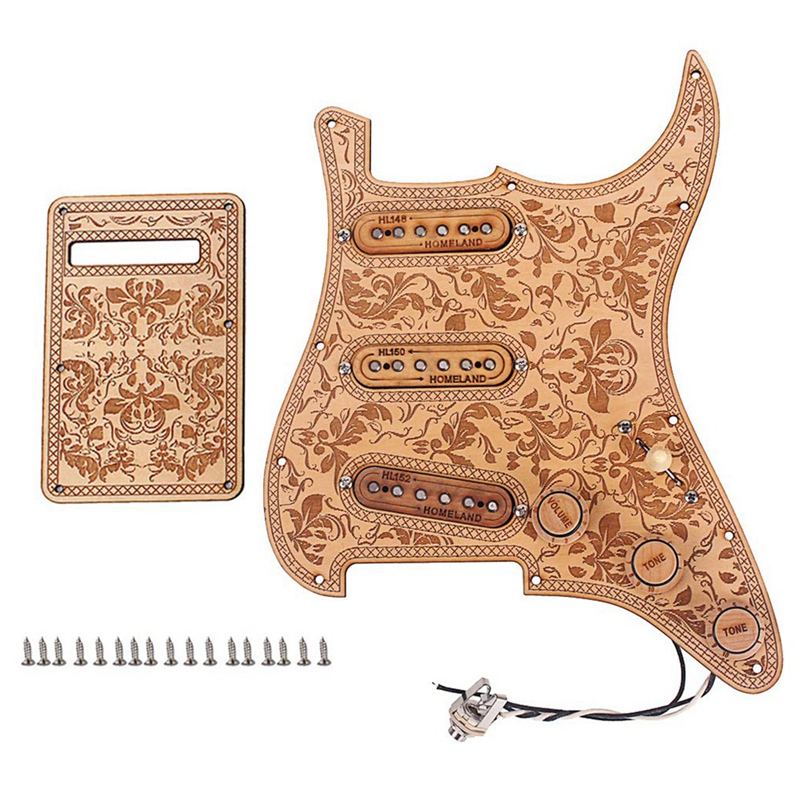 Prewired Loaded Pickguard Sss Pickups Scratch Plate With Back Cover Maple Wood For Strat St Electric Guitar Accessory