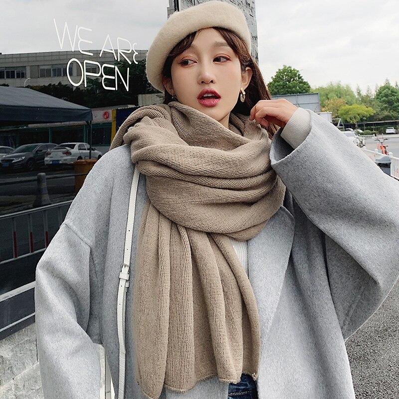 Brand Scarves  Women Winter Warm Scarf Korean Version All Kinds Of Thickened Warm Shawls INS Girl Art Model Student Bib Fashion