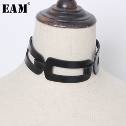 [EAM]  Women Black Pu Leather Split Joint Cool Necklace New Temperament Fashion Tide All-match Spring Autumn 2020 1T388