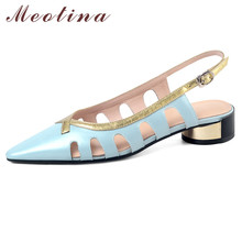 Meotina Shoes Women Cutouts Real Leather Mid Heel Sandals Pointed Toe Thick Heels Buckle Strap Lady Sandals Summer Blue Size 42 meotina sandals women cross strap high heel shoes pointed toe stiletto heels dress ladies sandals summer black large size 43